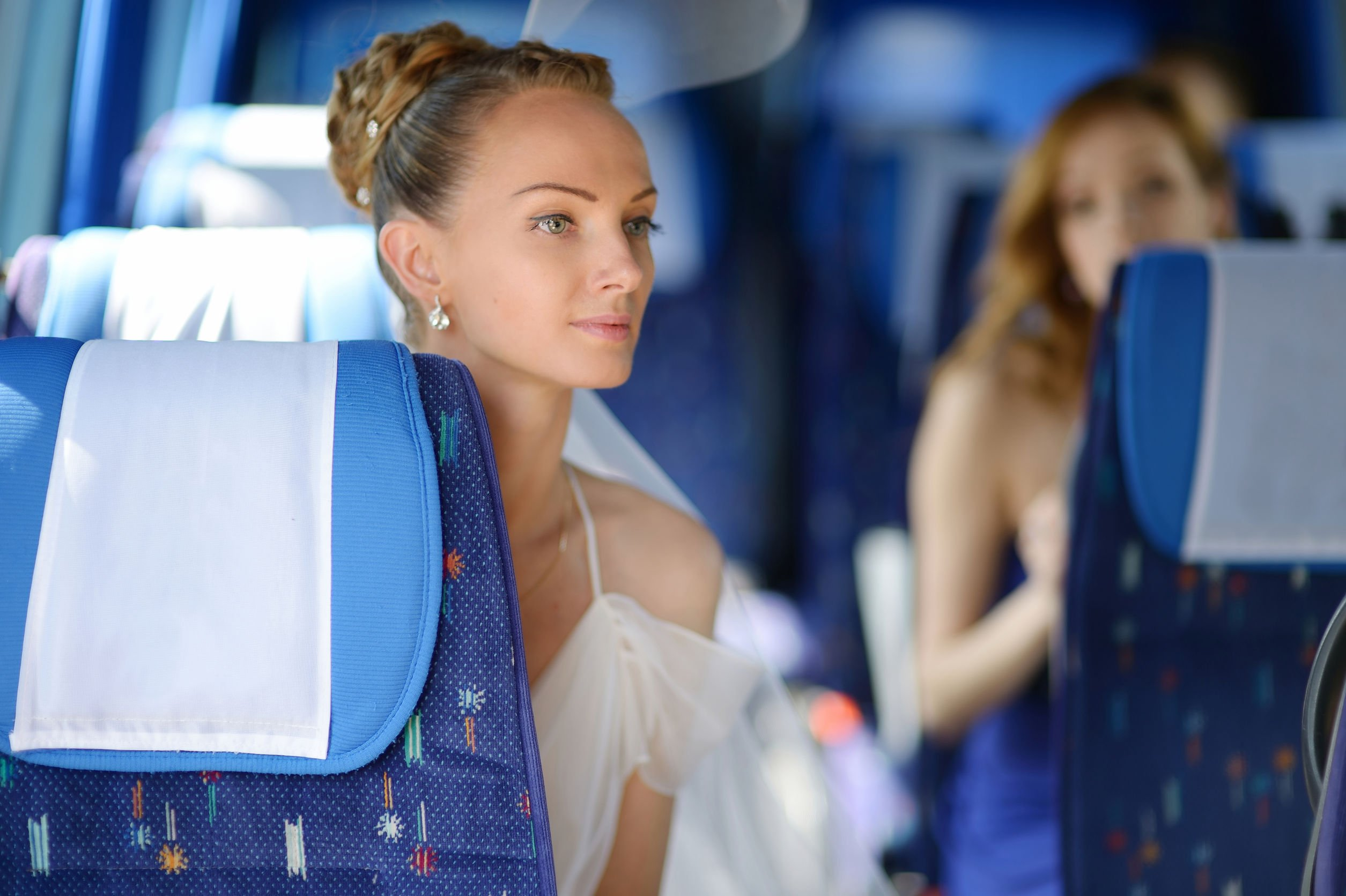 40749958 - beautiful young bride portrait in a wedding bus